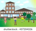 happy children playing in the... | Shutterstock . vector #437204326