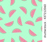 pink watermelon slices seamless ... | Shutterstock .eps vector #437212060