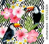 tropical toucan birds and... | Shutterstock .eps vector #437212324