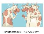 cartoon cows talking vector...