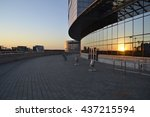 the sun at sunset reflected in... | Shutterstock . vector #437215594