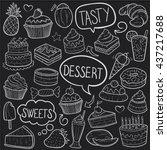 blackboard desserts sweets...   Shutterstock .eps vector #437217688