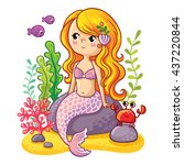sea collection  mermaid. cute... | Shutterstock .eps vector #437220844