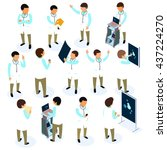 flat 3d isometric doctor icon... | Shutterstock .eps vector #437224270