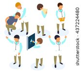 flat 3d isometric doctor icon... | Shutterstock .eps vector #437224480