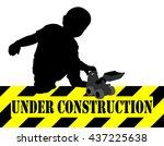 under construction sign boy...   Shutterstock .eps vector #437225638