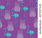 flamingo and pineapple vector... | Shutterstock .eps vector #437237110