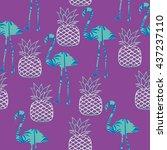 flamingo and pineapple vector... | Shutterstock .eps vector #437237110