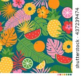 tropical summer concept... | Shutterstock .eps vector #437239474