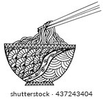 doodle noodle at bowl and stick.... | Shutterstock .eps vector #437243404