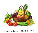 vegetables and fruits isolated... | Shutterstock . vector #437244298