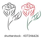rose icon isolated two tone ... | Shutterstock .eps vector #437246626