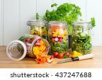 Prepared Salad In Glass Storag...