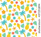 vector seamless pattern with... | Shutterstock .eps vector #437251894