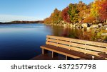 lake tobyhanna in the fall | Shutterstock . vector #437257798