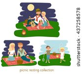 set of happy family picnic... | Shutterstock .eps vector #437258578