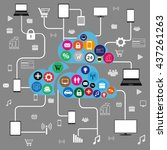 cloud computing concept  with... | Shutterstock . vector #437261263