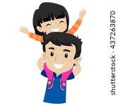 vector illustration of kid and... | Shutterstock .eps vector #437263870
