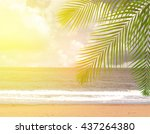 coconut palm trees with sky...   Shutterstock . vector #437264380