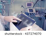 doctor with advanced equipment... | Shutterstock . vector #437274070