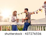 multi ethnic millenial couple... | Shutterstock . vector #437276536