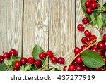 wet ripe red cherries | Shutterstock . vector #437277919