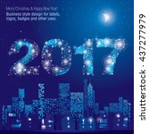 happy new year 2017 greeting... | Shutterstock .eps vector #437277979
