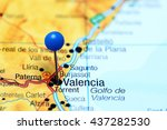 valencia pinned on a map of... | Shutterstock . vector #437282530