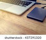 external or portable hard drive ... | Shutterstock . vector #437291320