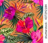 vector tropical flowers.... | Shutterstock .eps vector #437292184