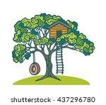 Cartoon Green Tree With...