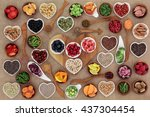 healthy super food  selection... | Shutterstock . vector #437304454