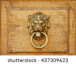 Lion Knocker On Wooden Texture