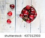 Red Cherries In A White Ceramic ...