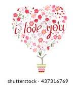 stylized tree in cute flower...   Shutterstock .eps vector #437316769