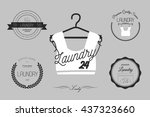 laundry icons  logos and badges.... | Shutterstock .eps vector #437323660