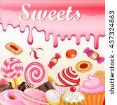 sweet dessert food frame... | Shutterstock .eps vector #437324863