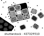 chocolate sweets with pattern... | Shutterstock .eps vector #437329510