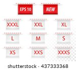 clothing size labels. vector. | Shutterstock .eps vector #437333368