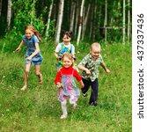 the children lead an active a... | Shutterstock . vector #437337436