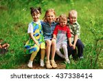 the children lead an active a... | Shutterstock . vector #437338414