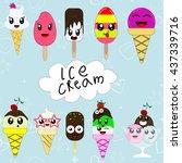 set of cute cartoon ice creams... | Shutterstock .eps vector #437339716