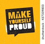 make yourself proud. workout... | Shutterstock .eps vector #437339803