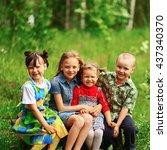 the children lead an active a... | Shutterstock . vector #437340370