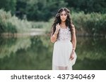 beautiful young woman with long ... | Shutterstock . vector #437340469