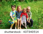 the children lead an active a... | Shutterstock . vector #437340514