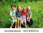 the children lead an active a... | Shutterstock . vector #437340514
