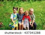 the children lead an active a... | Shutterstock . vector #437341288