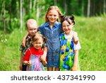 the children lead an active a... | Shutterstock . vector #437341990