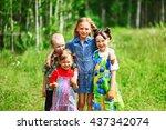 the children lead an active a... | Shutterstock . vector #437342074